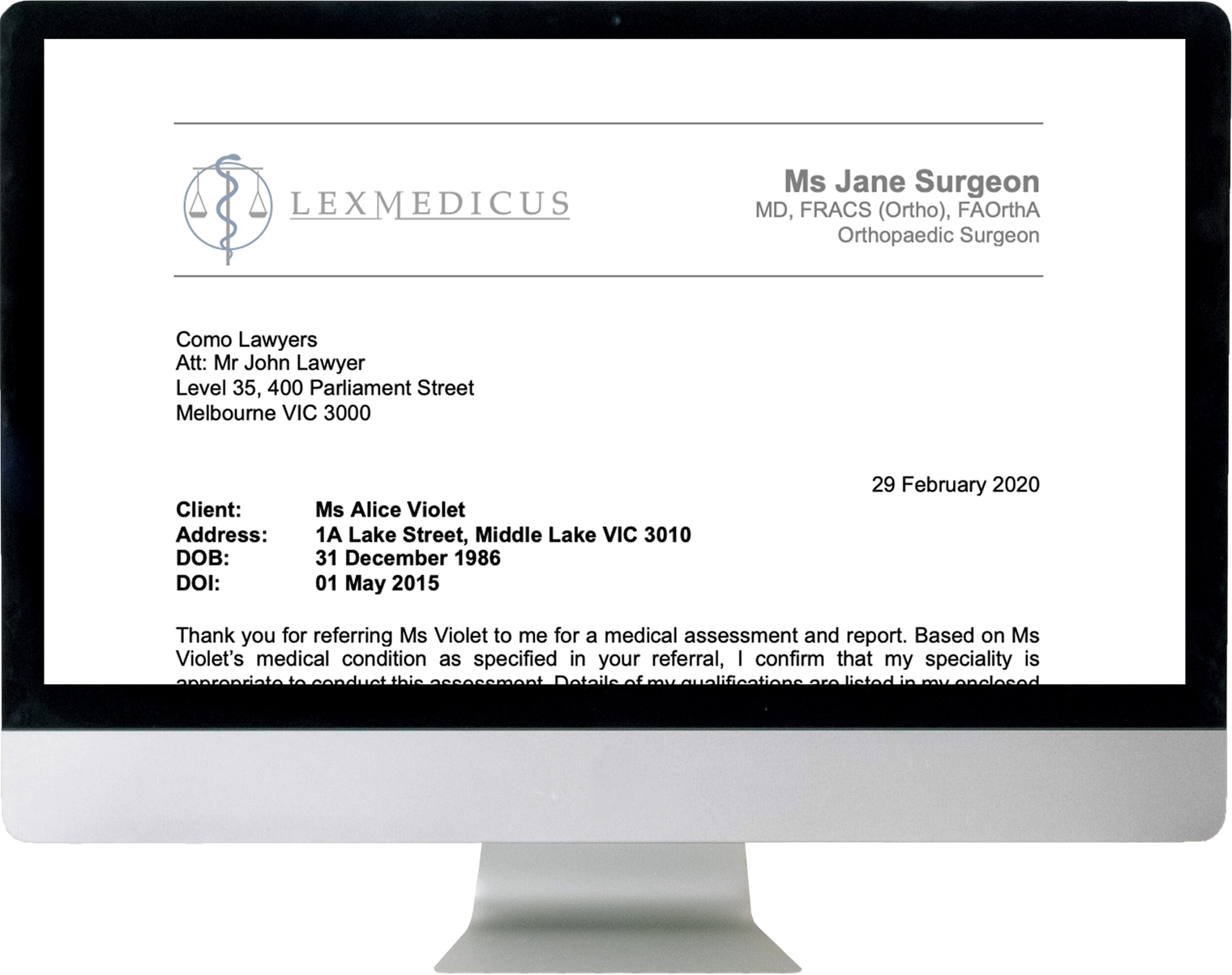 Medical assessment report from Melbourne medico legal experts