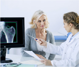 Looking at x-ray with doctor for medico legal service in Melbourne